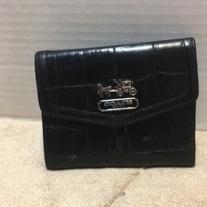 Coach Black Leather Gold inside Wallet